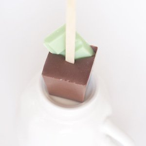 -vanilla mint hot chocolate on a stick