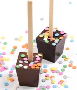 Our Happy Birthday Belgian Milk Chocolate and French Truffle Hot Chocolate on a sticks