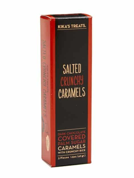 Kika's salted crunch dark chocolate covered caramels - 3 piece